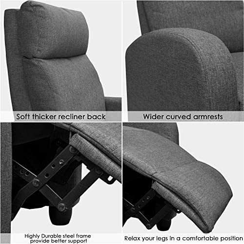 Marvelous Jummico Fabric Recliner Chair Adjustable Home Theater Single Recliner Sofa Furniture With Thick Seat Cushion And Backrest Modern Living Room Recliners Onthecornerstone Fun Painted Chair Ideas Images Onthecornerstoneorg