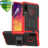 RioGree for Samsung Galaxy A50 Case, Galaxy A30 / Galaxy A20 Case with Kickstand for Men Women Heavy Duty Durable Phone Shockproof Cover Skin TPU (Red)