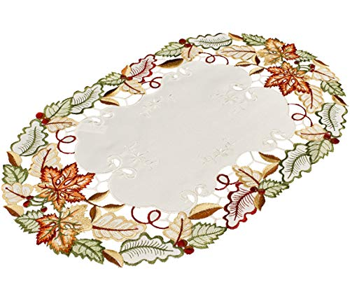 Linens, Art and Things Embroidered Fall Maple Leaf Place Mat Doily 14 x 21 Inches