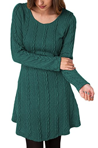 YMING Women's Elasticity Sleeve Round Neck Cable Knit Pullover Sweater Dress Green L