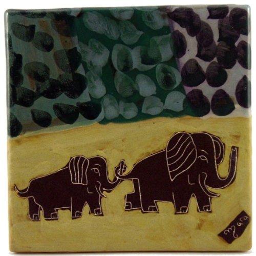 "MARA STONEWARE COLLECTION - 8"" Square Collectible & Funcation Tile, Trivet, Plaque - Elephant Design"