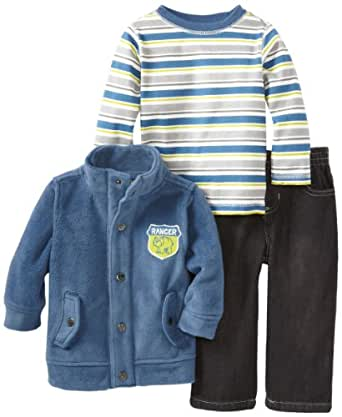 Kids Headquarters Baby Boys' Jacket with Stripes Tee and Jeans, Blue, 18 Months