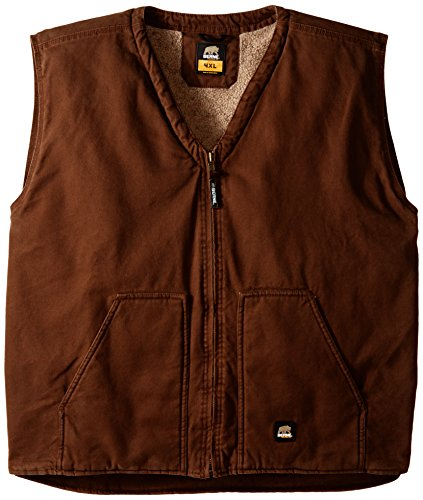 Berne Men's Big-Tall Washed V-Neck Vest, Bark, 3X-Large/Regular - Vest Bark
