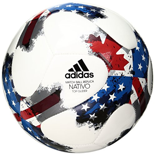adidas Performance 2017 MLS Top Glider Soccer Ball, White/Red/Blue, Size 5