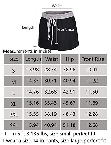 Blevonh Black Running Shorts Women,Misses Splicing Elastic Waist Drawstring Big Side Pockets Inner Layer Active Wear Lightweight Breathable Relaxed Fit Jogging Clothes Fall L