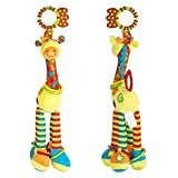 Zinnor Plush Giraffe Animal Baby Plush Toy Developmental Interactive Toy Washable Car Toys, Kids Hanging Toy for Crib with Rattle Ring, Teethers