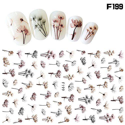 3D Nail Art Stickers Water Transfer Colorful Floral Pattern Slide Decal Sticker Nail Art Tips Glitter DIY Nail Art Design Stencil Assorted Patterns for Women Girls Kids Manicure DIY or Nail Salon]()