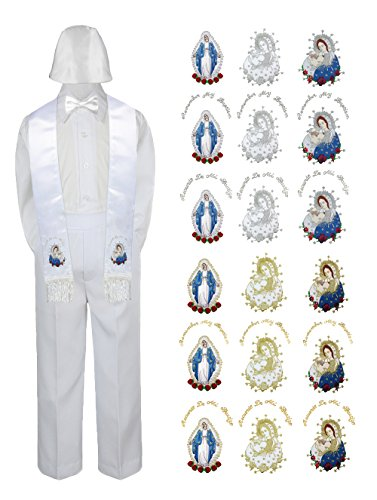 Christening Sailor Suit - LEADERTUX Baby Boy Christening Baptism White Pants Hat Bow tie Mary & Pope Stole SM - 7 (3T, Colored Silver Mary Spanish)
