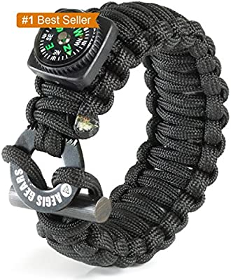 Tactical Paracord Survival Bracelet X Series - Ultimate Emergency Gear - Adjustable, Fire Starter Kit, Compass, Fishing Tools, Military 550 Cord For Bug Out Preppers Everyday Carry EDC Outdoor Sports from Aegis Gears