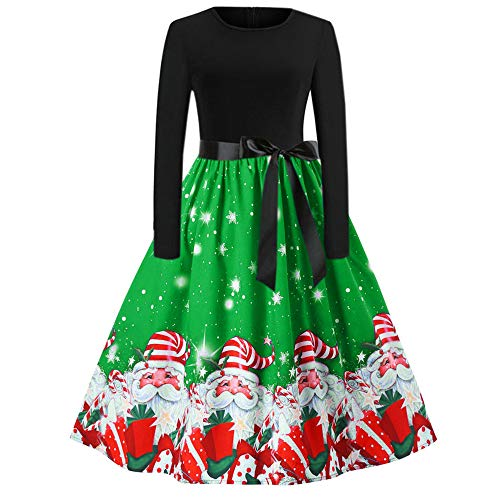 Christmas Womens Vintage Long Sleeve O Neck Dress with Belt Ladies Printing Gown Evening Party Dress