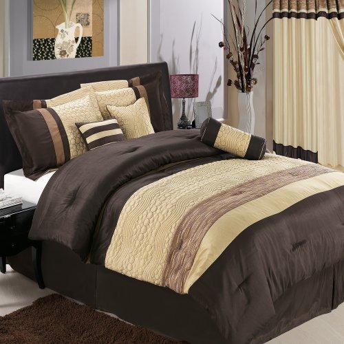 Sonata Comforter Set - Egyptian Cotton Factory Outlet Store Sonata 7-Piece Coffee/Brown Luxury Queen Comforter Set