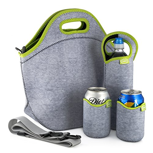 prene Lunch Bag Set with Tote, Bottle Sleeve, 2 Can Insulators & Adjustable Crossbody Shoulder Strap | Washable, Reusable, Stretchy, Extra Large Travel Lunch Box (Green Gray) ()