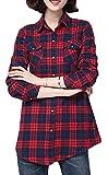 ARRIVE GUIDE Womens Plaid Fleece Warm Winter Thicken Slim Button Down Shirt Red4 XS