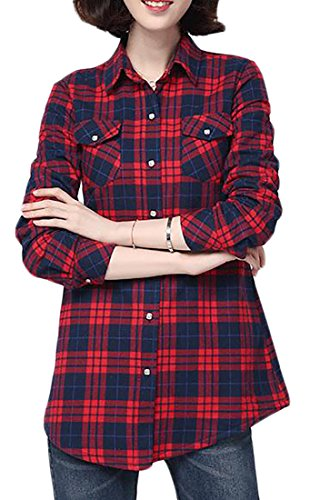ARRIVE GUIDE Womens Plaid Fleece Warm Winter Thicken Slim Button Down Shirt Red4 XS by ARRIVE GUIDE