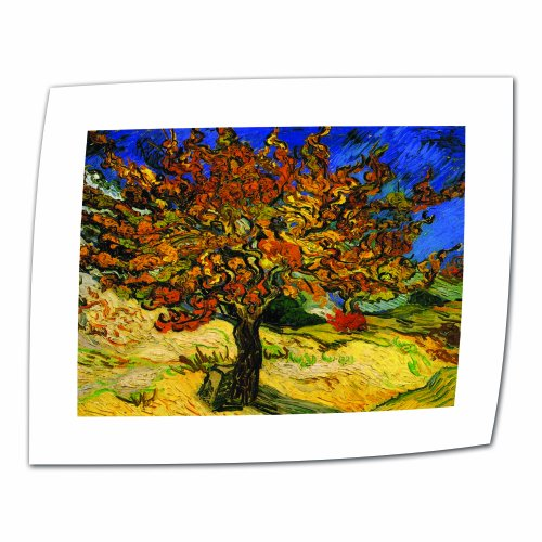 Mulberry Wall Border (Art Wall The Mulberry Tree by Vincent Van Gogh Rolled Canvas Art with 2-Inch White Accent Border, 14 by 18-Inch Image)