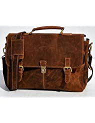 Omansh 15 Inch Retro Buffalo Hunter Leather Laptop Messenger Bag Office Briefcase College Bag