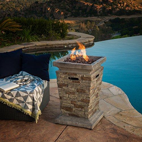 "Great Deal Furniture Coldwater Outdoor 19"" Liquid Propane Fire Column"
