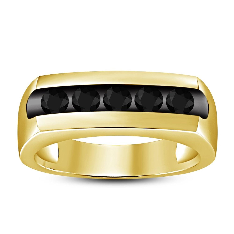 eb57f24ad1f2 Lilu Jewels - Anillo de compromiso con circonita cúbica negra de corte  redondo