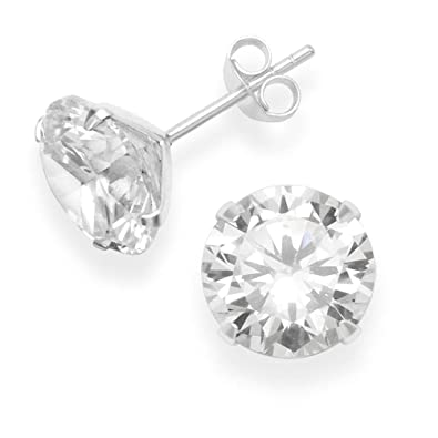 Girls Round Crystal Ear Studs 925 Sterling Silver Nb Of Crystal Stones 24