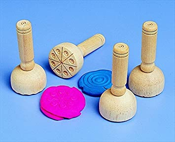 School Smart Wooden Clay Stamp Set Set of 4