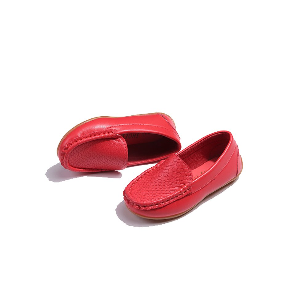 iLory Boys Girls Casual Leather Slip-on Loafers Oxford Flat Boat Shoes Toddler Shoes