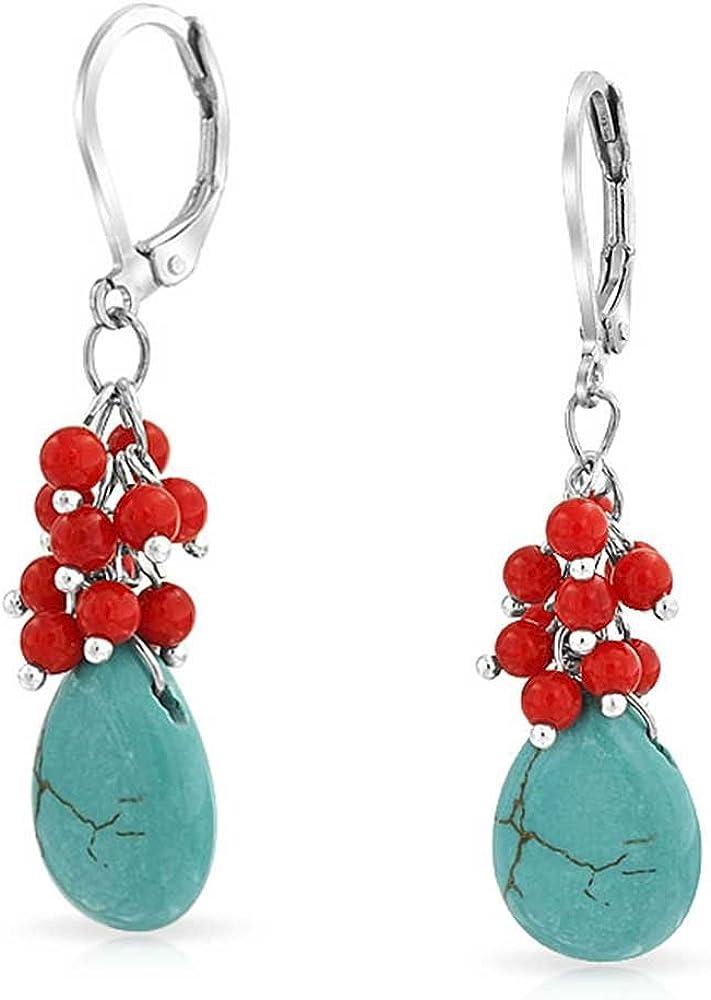 Comprimido turquesa azul cristal teñido coral rojo lágrima forma gota palancaback pendientes para las mujeres plateadas