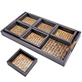 MyGift 7 Piece Flocked Nesting Mango Wood and Woven Rattan Jewelry Organizer Display Trays