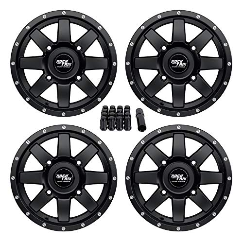 RockTrix RT106 14 inch ATV Wheels Rims 14x7 Matte Black - 4x156 Bolt Pattern - 4+3 offset - includes 3/8x24 Spline Lug Nuts - Compatible with many Polaris ATV UTV - Wheels Lug 7