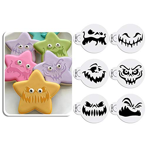 ART Kitchenware 6pcs Happy Halloween Ghost Face Cookie Cake Decoration Stencil Set Cake Decorating Supplies Cookie Mold ST-916S]()