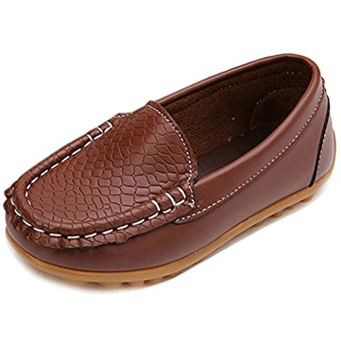 Femizee Casual Toddler Kid Boys Girls Loafers Shoes,Brown,1301 CN 34 - 2 Leather Casual Shoe