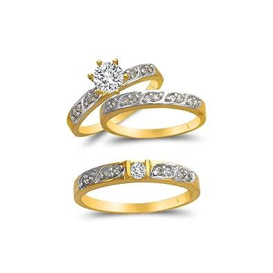 Amazon.com: TOUSIATTAR Juego de anillos de trío de oro de 14 ...