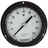 Ashcroft Duragauge Type 1279 Black Phenolic Case Pressure Gauge with SS Tag, 316 Stainless Steel Bourdon Tube and Tip, 1018 Steel Socket, Solid Front Case, 4.5