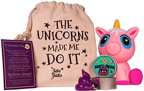 Magnetic Putty Unicorn Poop Stress Relief Kit - Funny Gift for Adults and Kids | Magnetic Unicorn Poop with Magnet | Cute Jumbo Pink Unicorn Squishy Slow Rising | Silly Hand Therapy Office Desk Toy (Desk Work For Cute Ideas)