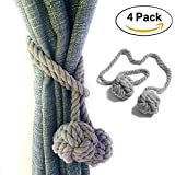 INSIST Outdoor Curtain Tiebacks 4 Pack Natural Hand Knitting Cotton Rope Holdbacks for Window Drapes Blackout(gray)