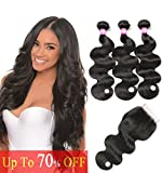 BILSTAL Brazilian Virgin Hair Body Wave Human Hair 3 Bundles with 4×4 Lace