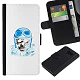 UPPERHAND ( Not For S6 EDGE ) Stylish Image Picture Black Leather Bags Cover Flip Wallet Credit Card Slots TPU Holder Case For Samsung Galaxy S6 SM-G920 - biker helmet blue skull pilot white