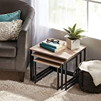 Mdesign Modern Farmhouse Nesting Side End Table Metal Wood Design Sturdy Vintage Rustic Industrial Home Decor Accent Furniture For Living Room Bedroom Set Of 3 Natural Black Amazon Sg Home
