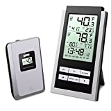ORIA Digital Wireless Thermometer,Indoor Outdoor Thermometer, LCD Screen Remote Thermometer, Large Display, Clock, Date, ℃ ℉ Switch for Home, Office