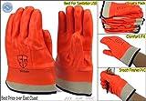 6 pair PVC orange grade A safety cuff waterproof Work Glove for garbage pick up
