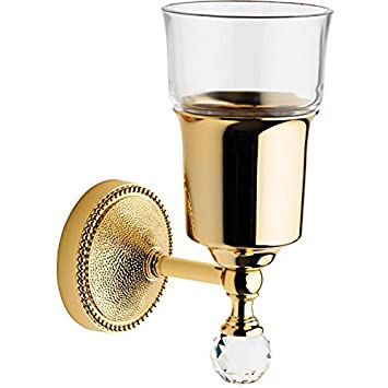 LUX Elite Golf con vaso de cepillo de dientes pasta de dientes soporte de pared, latón, Polished Gold, 3.1 W 4.9 D 7.3 H in: Amazon.es: Hogar
