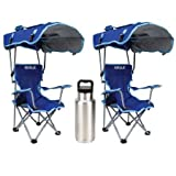 Automotive : Kelsyus Kids Original Canopy Folding Backpack Lounge Chair (2 Pack) Blue with 1 Tumbler