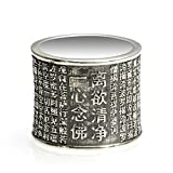 Beydodo Mens Silver Ring, 2Cm Chinese Heart Sutra Buddhist Ring Size 12 Men Rings Hip Hop