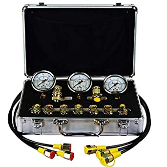 Hydraulic Tester Fisters Portable Hydraulic Pressure Test Coupling Kit Hydraulic Test Gauge Sets with 8 Couplings 3 150cm Long Hoses /& 3 Pressure Gauge 25//40//60Mpa