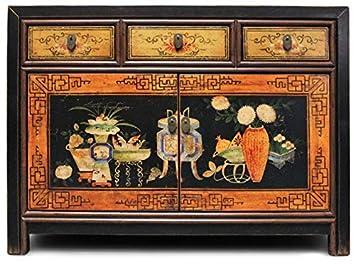 Asien Lifestyle Asiatische Kommode Sideboard Schwarz Aus China