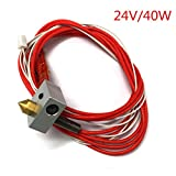 HICTOP Assembled Extruder Hot End for RepRap 3D Printer 1.75mm Filament, 0.4mm Nozzle, 24V 40W Heater, NTC Thermistor Hotend