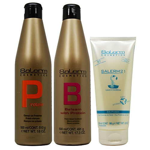 Hair Balsam Conditioner (Salerm Protein Shampoo 18oz + Protein Balsam Conditioner 17.3oz + Salerm 21 B5 Silk Protein Leave-in Conditioner 6.9oz)