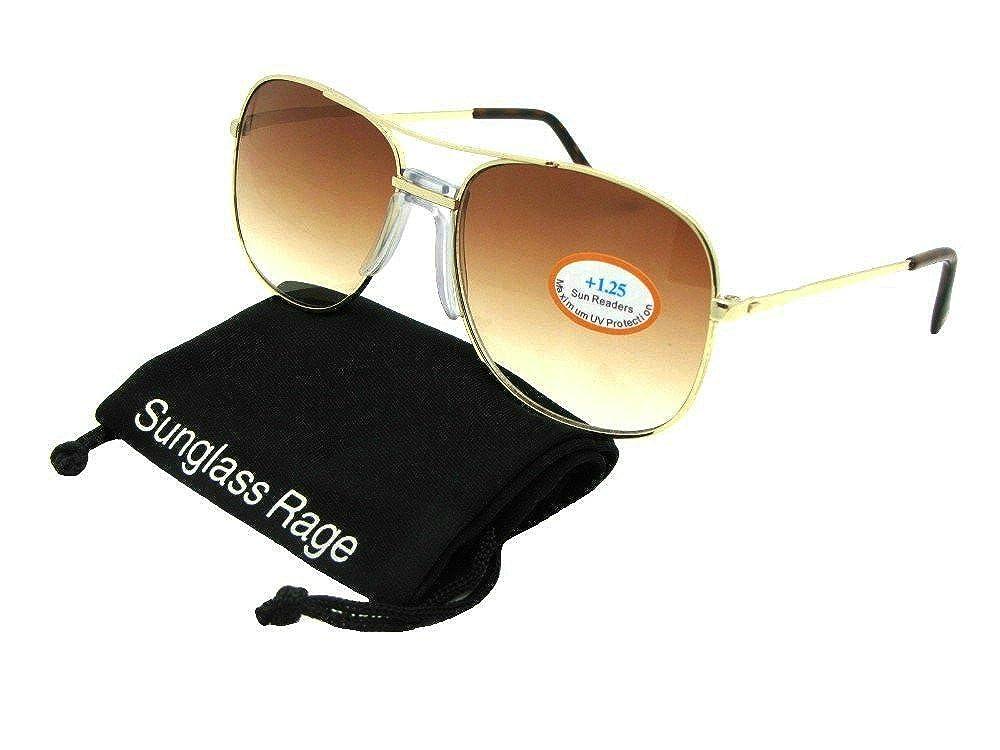 df86ddba10037 Amazon.com  Style R92 Square Aviator Full Lens Reading Sunglasses (Gold  Frame-Brown Lenses