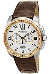 Cartier Calibre Men's Two Tone Chronograph Watch - W7100043