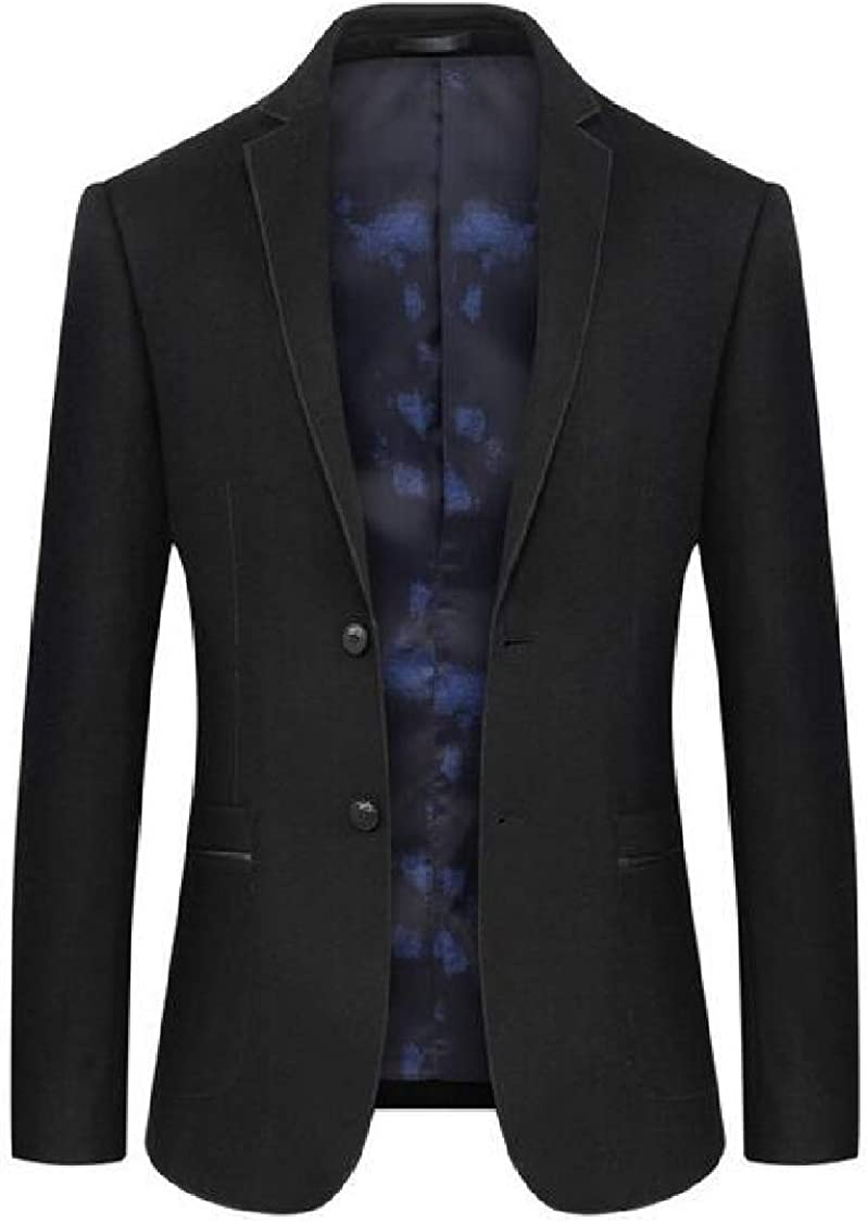 SELX Men Lapel Two Button Wool Blend Casual Long Sleeve Blazer Jacket Coat