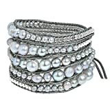 AeraVida Earthy Cultured Freshwater Pearl-Fashion Silver Beads Leather Wrap Bracelet